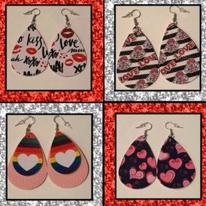 4 Pair Valentines Day Tear Drop Statement Earrings